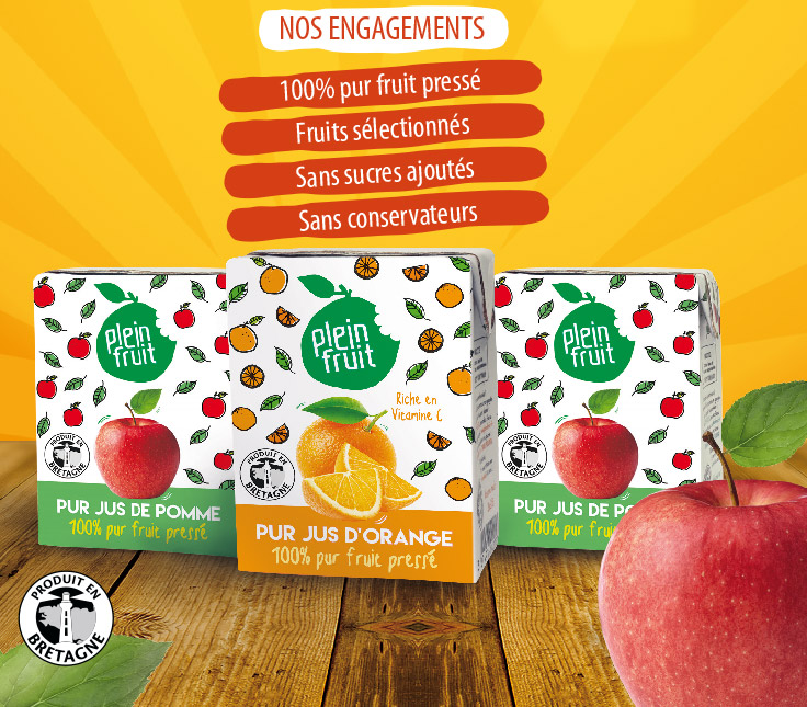 Minis packs de jus de fruit pressé