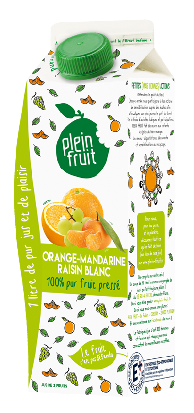 Pur jus d'orange, mandarine & raisin blanc