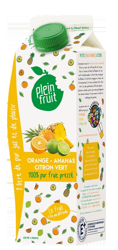Pur jus d'orange, d'ananas & citron vert