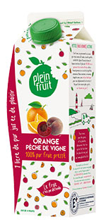 Plein Fruit jus orange et pêche de vigne, 100% fruit pressé