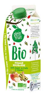 Plein Fruit jus de pomme et rhubarbe bio, 100% fruits et légumes