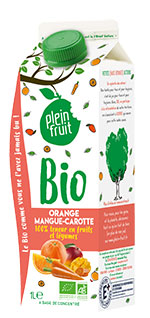 Plein Fruit jus orange mangue carotte bio, 100% fruit pressé